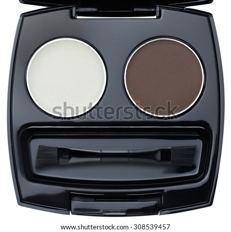 Black palette of colorful eye shadows with brush