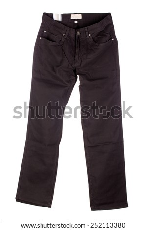 Black pants. Front view Isolated on a white background  - stock photo