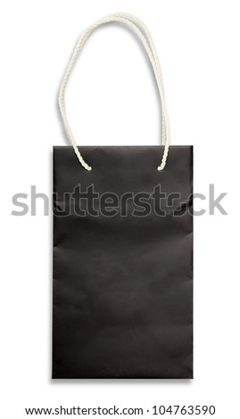 Black paper bag on white with shadow. - stock photo