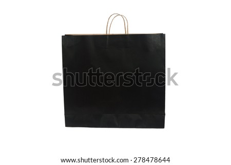 black paper bag with handles isolated on a white background with clipping path - stock photo