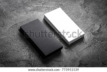 Black Paper Business Card Template On Grey Background Blank Name For Text Space