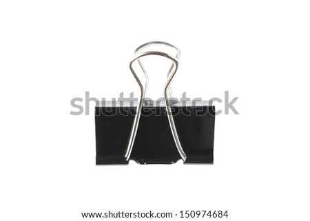 Black paper clip isolated on white background - stock photo
