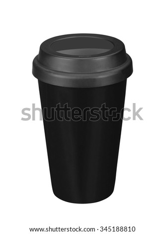 Black paper coffee cup - stock photo