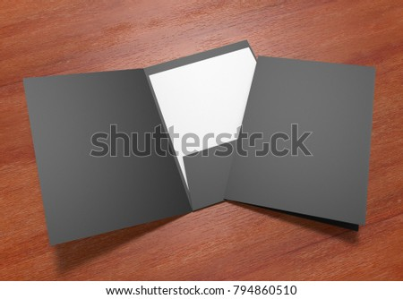 Black paper folder with blank white paper on wooden background, 3d illustration.
