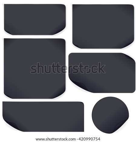 Black Paper Stickers. Template Ready for Your Text and Design - stock photo