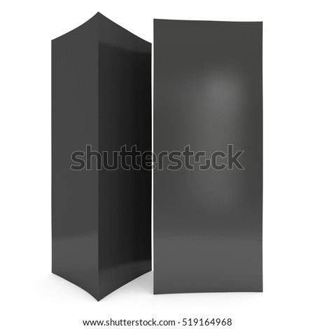 Black paper triangle tent cards. 3d render illustration isolated. Table cards mock up on white background.
