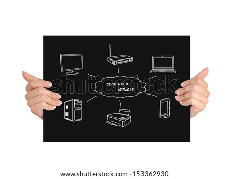 black paper with computer network in hands