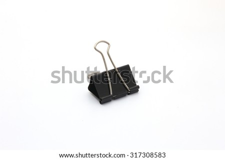 black paperclip isolated on white background