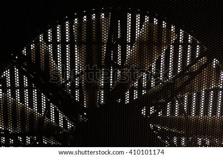 black part of fan blades of modern ventilation system / Air Conditioner  Ventilation Fan Background  / Circular air ventilation duct / Air Conditioner Ventilation Fan Background - stock photo