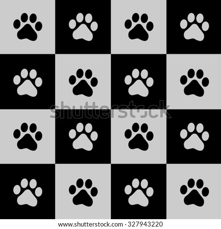 Black paw prints pattern on square background