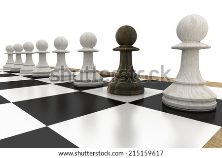 Black pawn defecting to white side on white background