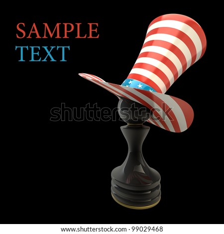 Black Pawn in a TOP hat of usa isolated on black background High resolution 3D - stock photo