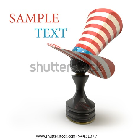 Black Pawn in a  TOP hat of usa isolated on white background High resolution 3D - stock photo