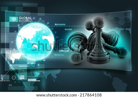 black pawn isolated on color  - stock photo