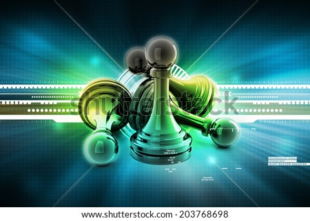 black pawn isolated on  colour - stock photo