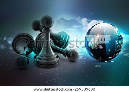 black pawn isolated on white colour - stock photo