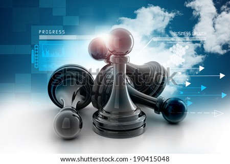 black pawn on attractive background - stock photo