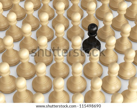 Black pawn standing out from the crowd, brown chess pieces. - stock photo