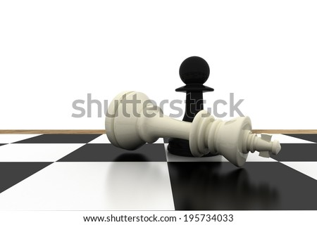 Black pawn standing over fallen white king on white background