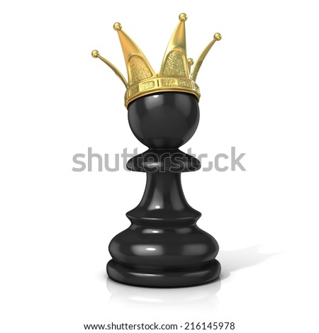 Black pawn with a golden crown, isolated on a white background  - stock photo