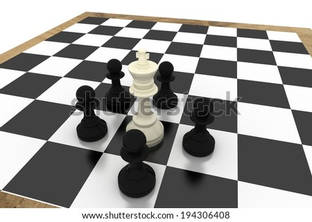 Black pawns surrounding white king on white background