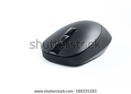 Black PC cordless wireless computer mouse on white
