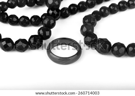 black pearl necklace and ring