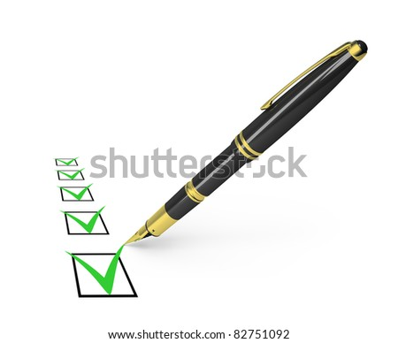black pen draws a checkmark in the list. 3d image. Isolated white background. - stock photo