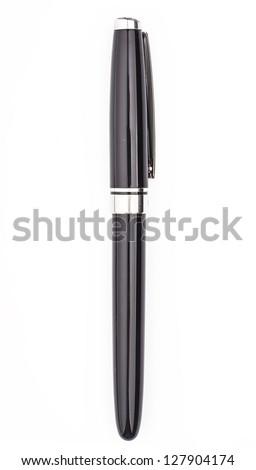Black Pen Isolated on White Background - stock photo