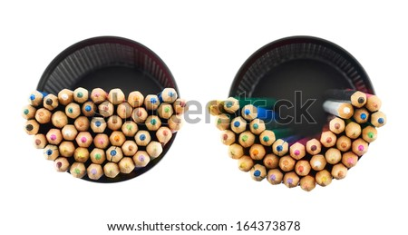 Black pencil holder full of colorful pencils, top view above, isolated over white background, set of two foreshortenings - stock photo