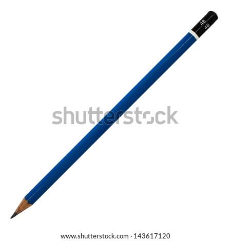Black pencil isolated on white background - stock photo