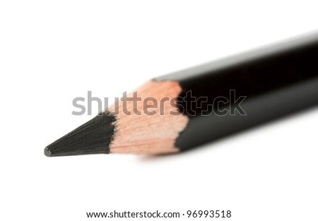 Black pencil macro isolated on white - stock photo