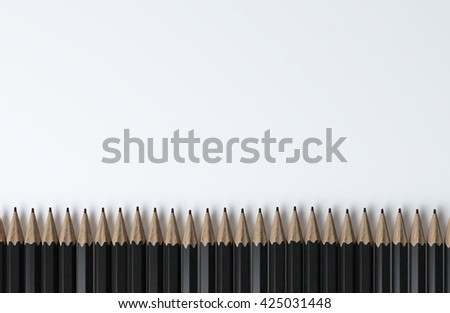 Black pencils standing in row on white background,Use for business concept ,3d rendering
