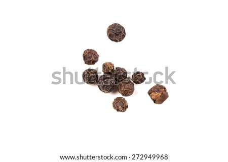black pepper, black peppercorn , indian spice - isolated on white - stock photo
