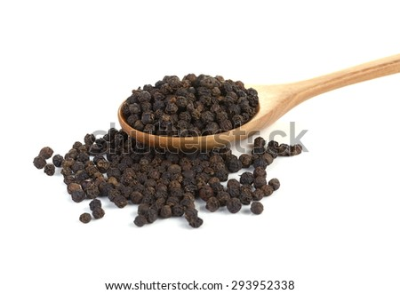 black pepper in wooden spoon isolated on white - stock photo