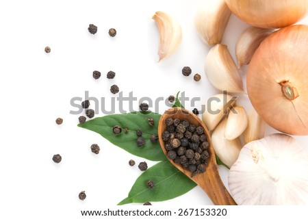 black peppers with garlics and onions - stock photo