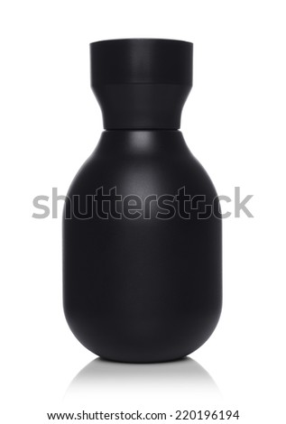 Black perfume bottle on isolated background - stock photo