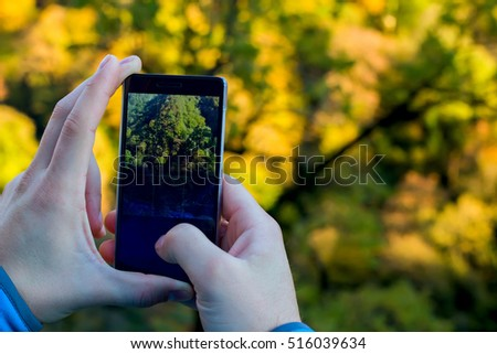 Black phone in man's hands making photo of autumn landscape