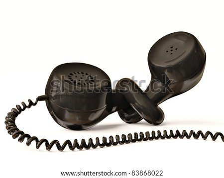 black phone receiver isolated on white - stock photo