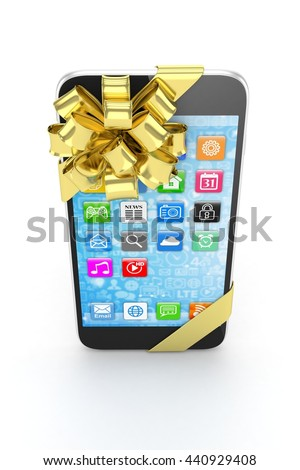 Black phone with golden bow and icons. 3D rendering.