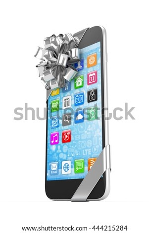 Black phone with silver bow and icons. 3D rendering.