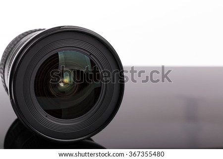 black photo camera lens with copy space