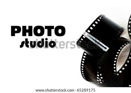 black photo film and text photo studio. isolated on white background
