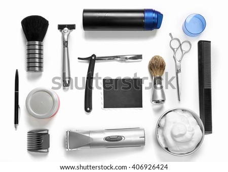 Black photo, shaving set with equipment, tools and foam, isolated on white - stock photo