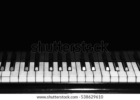 Black piano, close up