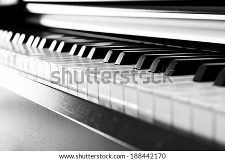 Black piano close up blur background and foreground