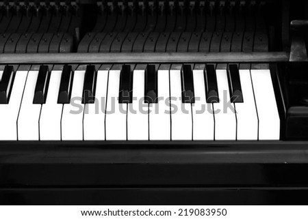 Black piano close up blur background and foreground - stock photo