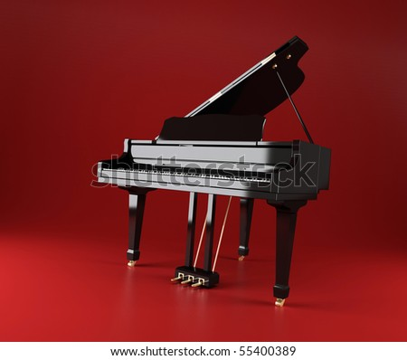 Black Piano on a red background