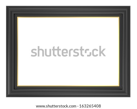 Black picture frame. Computer generated 3D photo rendering. - stock photo