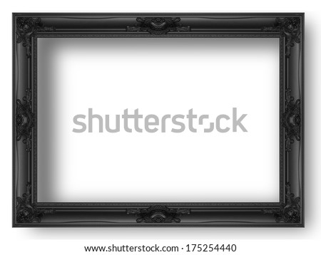 Black picture frame isolated on abstract background. - stock photo
